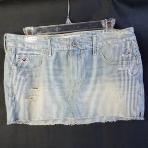 Hollister mini distressed striped jean skirt NWT
